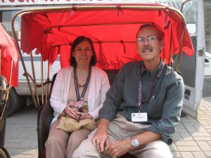 Robin and Hugh tour the hutong in a pedicab