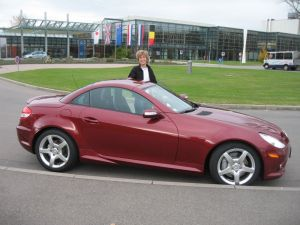 Becky with the SLK in front of the Delivery Center