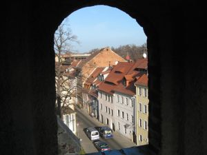 A view of Gorlitz through an archway at the St. Peter's and Paul church