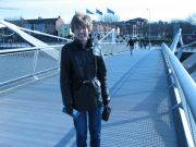 Becky on the bridge over the Liffey River