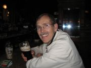 Hugh's first pint of Guinness in Dublin at the Stag's Head