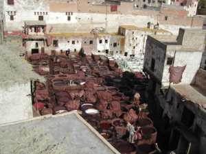 The famous leather tannery in the Fes Medina