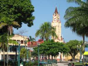 The main plaza in Iquitos