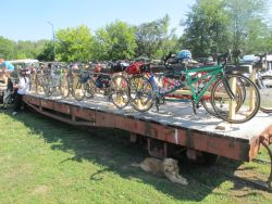 bikes loaded onto rail car for ride back to ship