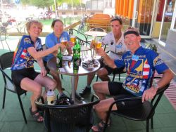 Refreshment with Jim and Sue after 75 miles in Bulgaria