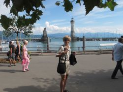 Becky in front of the Lindau harbor