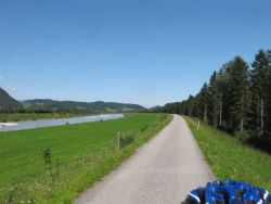Riding the bike path on the Austrian side of the Rhine