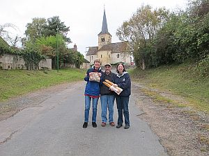 returning from the boulangerie in Fluery sur Loire