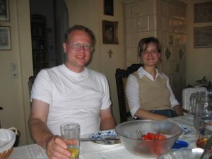 Conrad and Diane relaxing at home the night before the wedding