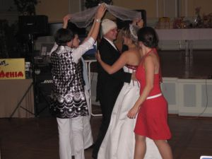 Conrad and Diane in tradiitional dance under the veil