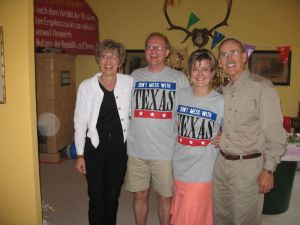 Conrad and Diane in Texas T-shirts