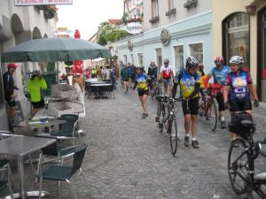 walking the bikes up to the Melk Monastery