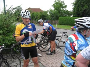 Wolfgang looks over the maps for our ride in the Alps