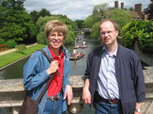 Becky and Volker on the Magdelene Bridge over the Cam River