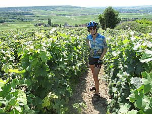 Becky in the vineyards above Haut Villers