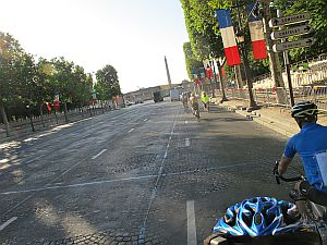 riding on the Champs Elysee near the Place du Concorde