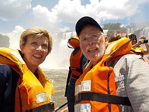 Hugh and Becky just entering the spray from Iguassu Falls